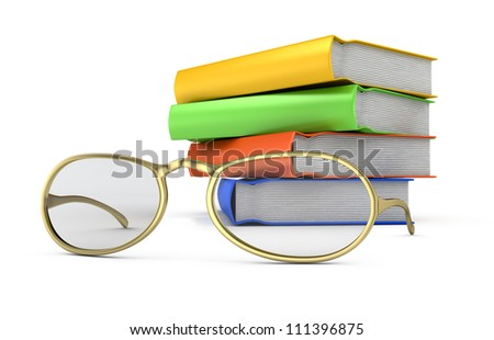 stack of books and glasses isolated on white background. 3d render
