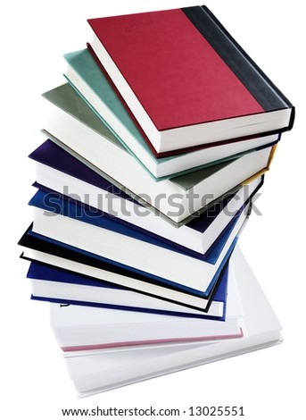 Stack of books arranged in a spiral staircase, isolated on white