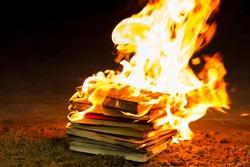 Stack of books burning