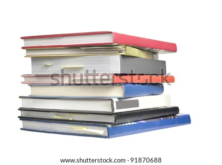stack of books isolated on white background, blank spines, free copy space
