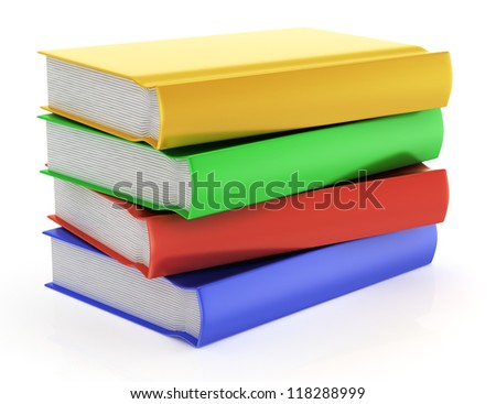 stack of books isolated on white background. 3d rendered image
