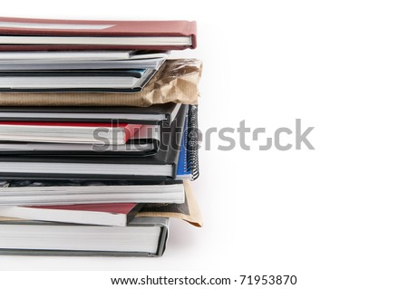 Stack of books isolated on white background horizontal