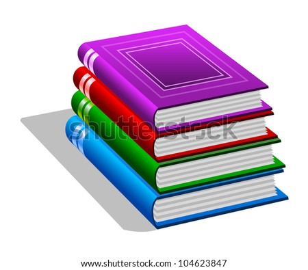Stack of books isolated on white background. Stylized icon
