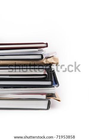 Stack of books isolated on white background vertical