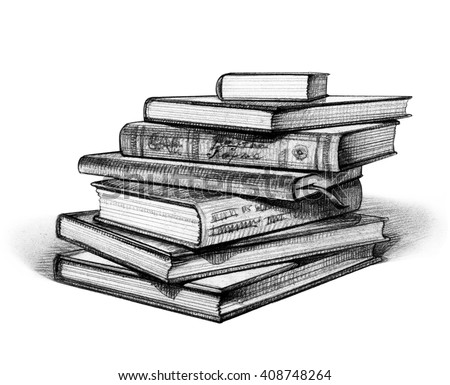 Stack Of Books Isolated On White. Hand Drawn Illustration ...