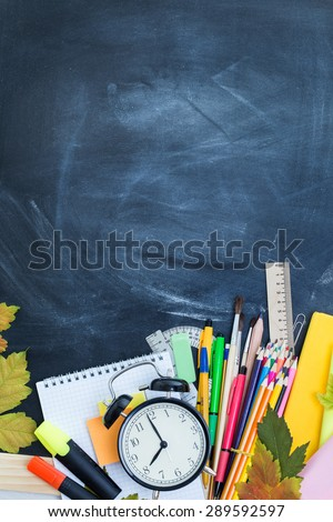 Stack of Books on A Desk for Back to School #289592597