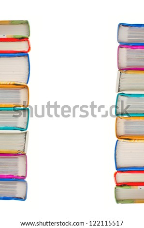 Stack of books on white background. Partial view with space for text.