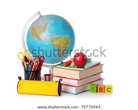Stack of books, red apple, globe and pencils isolated on white background - stock photo