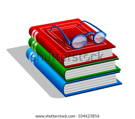 Stack of books with eyeglasses isolated on white background. Stylized icon
