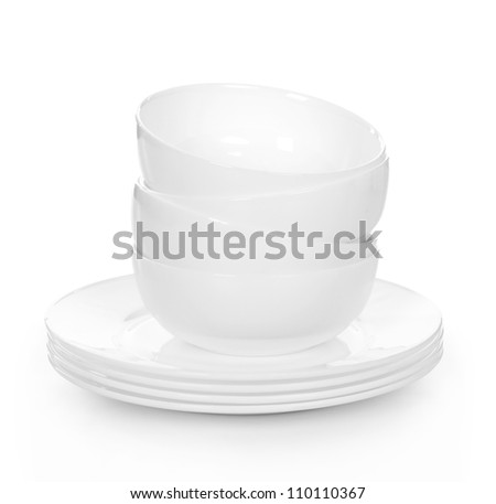 stack of Bowl and plates isolated on white