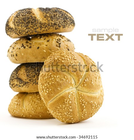 Stack of Bread isolated over white background (with sample text) - stock photo