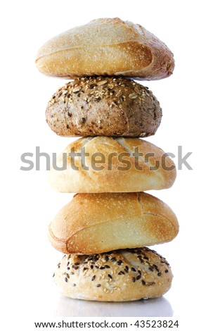 Stack of Bread on white background