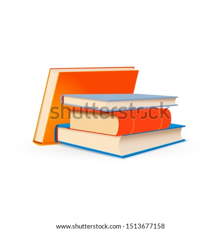 Stack of bright school textbooks on white