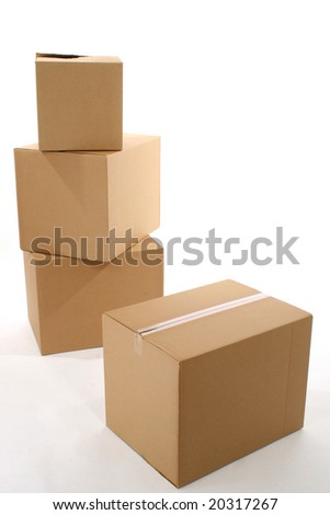 Stack of brown cardboard boxes.
