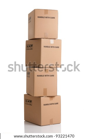 Stack of card boxes ready to be shipped isolated on white background