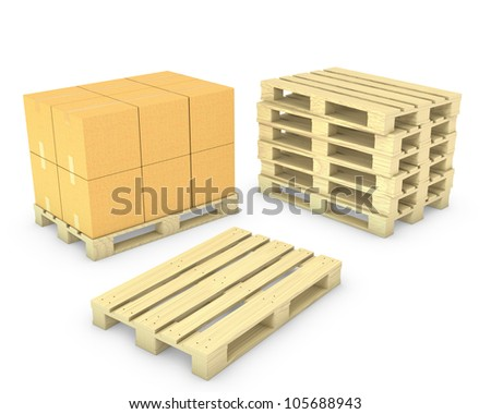 Stack of cardboard boxes and stack of pallets, isolated on white