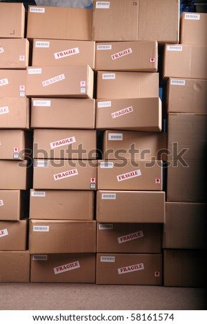 Stack of cardboard boxes in a warehouse