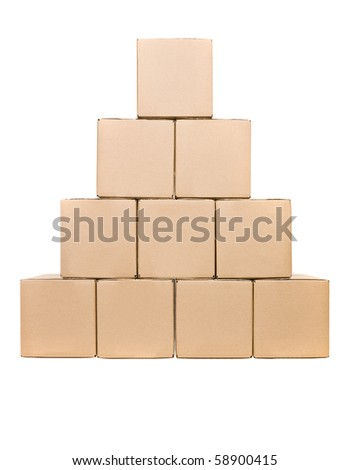 Stack of Cardboard boxes isolated on white background