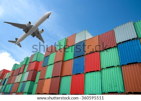 Stack of Cargo Containers in import and export area at port.
