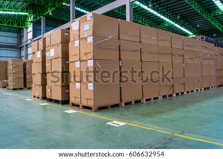 Stack of carton at logistics warehouse #606632954