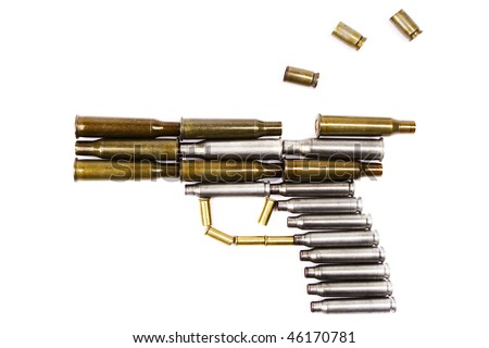 Stack of cartridge cases and bullets In the form of gun (fire shot pistol)