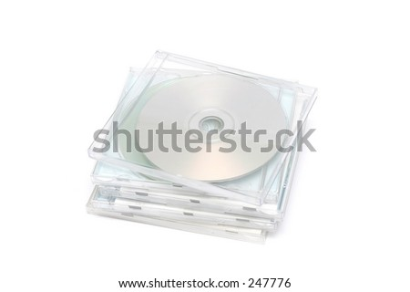 Stack of CD cases on white background.