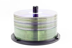 Stack of CD roms on a white background