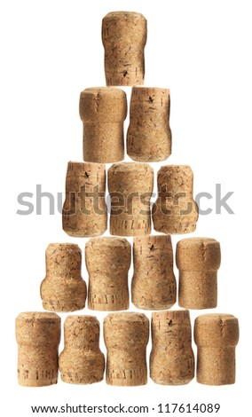 Stack of Champagne Corks on White Background