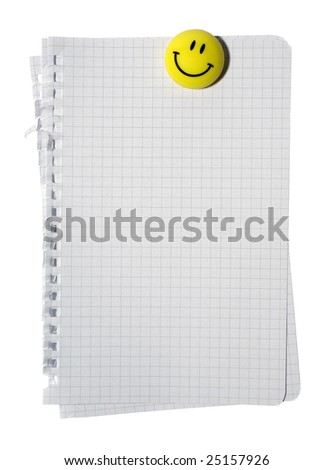 Stack of checked note paper and yellow smiling magnet isolated on white background. Clipping path. - stock photo