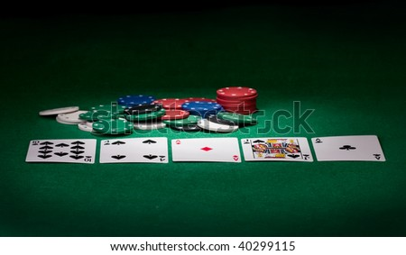 Stack of chips and cards