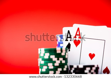 Stack of chips and two aces with place for text