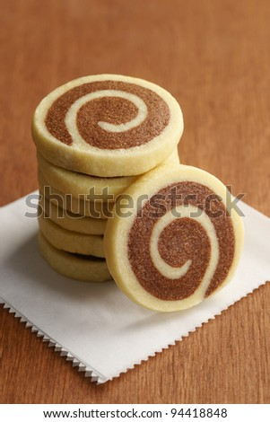 Stack of Chocolate and Vanilla Pinwheel Cookies