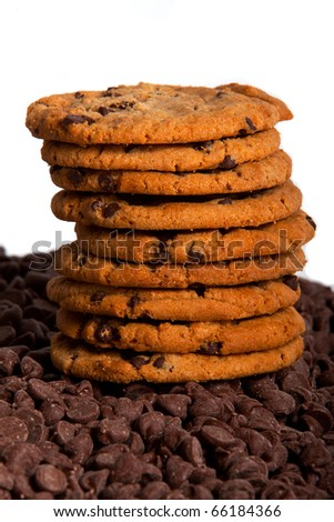 Stack of chocolate chip cookies - stock photo