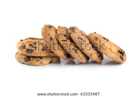Stack of chocolate chip cookies isolated on a white background.