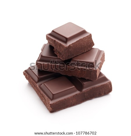 stack of chocolate pieces isolated on white