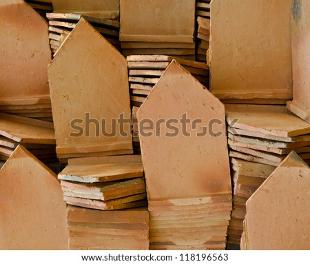 Stack of clay roof tiles, in thai temple Thailand