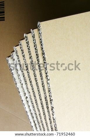 Stack of clean new blades of cardboard