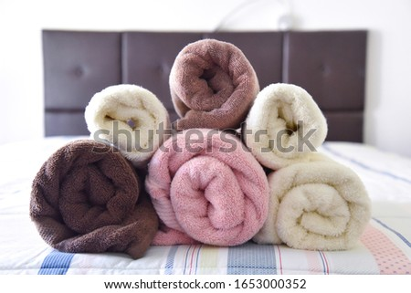 Stack of clean soft colorful towels
