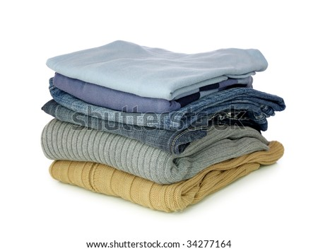 Stack of clothes isolated on white background