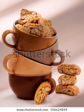 Stack of Coffee Cups whit Cantuccini Cookie isolated on white