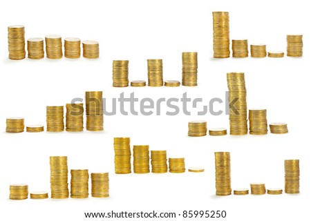 stack of coins isolated