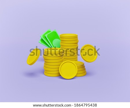 stack of coins isolated. minimal money sign. 3d rendering