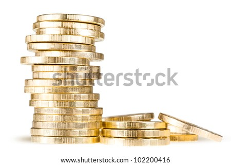 stack of coins (russian 10 rubles) isolated over white background