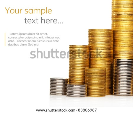 Stack of coins with copy-space