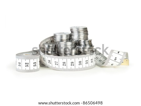 stack of coins with tape measuring isolated on white