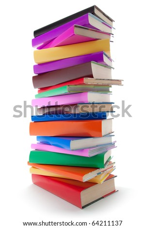 stack of color books on white background. Book column