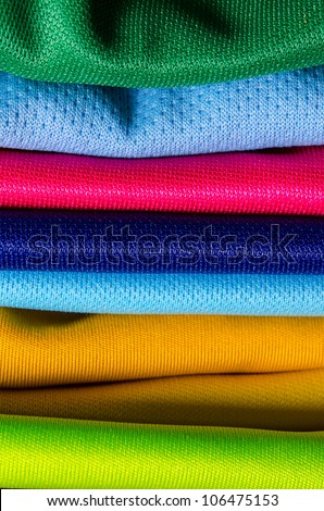 stack of color cloth close up shot