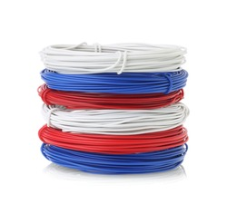 Stack Of Color Wire Coils On White Background