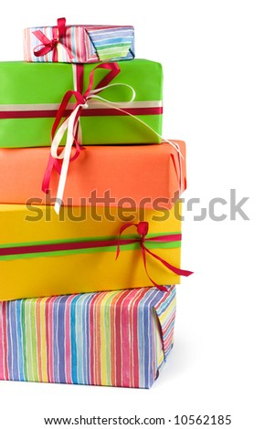 Stack of colored gift boxes. Isolated on white