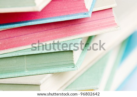 Stack of colorful books - stock photo